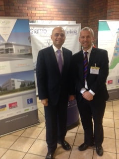 Business Secretary Sajid Javid with Andrew Lamb