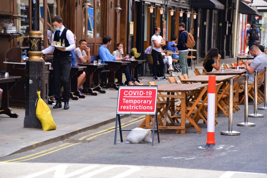Outdoor social distancing COVID-19 steps being implemented in Old Compton Street, Soho
